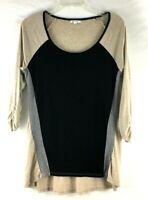 Ava James Colorblock Womens Top  Shirt , M, Tan / Gray / Black Tunic 3/4 Sleeve