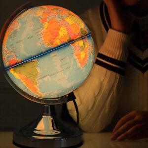Illuminated Earth Globe Rotating Ocean World Night Light Home Room Decor AU