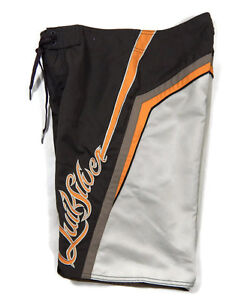 Quiksilver Boardshorts Swimsuit Mens 28 Swim Trunks Brown Orange