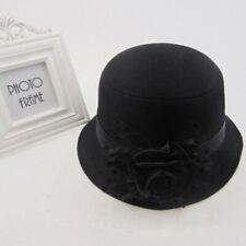 de5999b6248 Black Stylish Women Lady Vintage Elegant Cloche Flower Rose Bucket Hat  Headwear