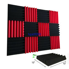 12 Pack Wedge RED/CHARCOAL Acoustic Soundproofing Studio Foam Tiles 2 x 12 x 12