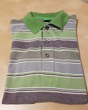 Mens HUGO BOSS Green Label Purple Golf Short Sleeved Striped Polo Shirt Genuine