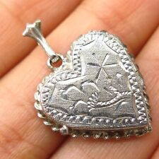 Antique 925 Sterling Silver Engraved Design Heart Love Locket Pendant