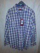 IZOD Luxury Sport Size L Blue Tan Red Stripe Button Down Long Sleeve Shirt NWT