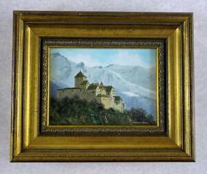 ROBERT HUGHES RMS Miniature Oil Painting VADUZ CASTLE - DUCHY OF LIECHTENSTEIN