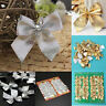 12X Christmas Tree Bow Decoration Baubles XMAS Party Garden Bows Ornament EB
