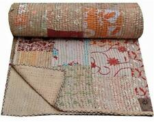 Indian silk khambhadia patchwork kantha quilt handmade vintage twin bedspread
