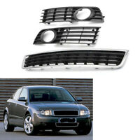 Front Center & Lower Bumper Fog Light Grille for Audi A4 B6 01-05 Grill 02 03 04