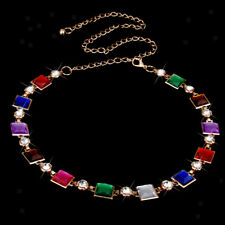 Colorful Beaded Rhinestone Waist Chains Belt Stretch Metal Chain Gold Tone