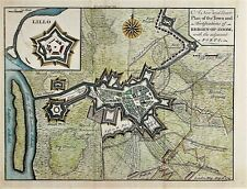 RARE ANTIQUE MAP TOWN PLAN BERGEN OP ZOOM NETHERLANDS HOLLAND c1747 ENGRAVING