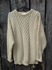 CARRAIG DONN Aran 100% Wool Fisherman Sweater Ivory Size L Made in Ireland EUC