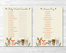 "Woodland Forest Animals Printable Baby Shower ""Baby Word Scramble"" Game Cards"