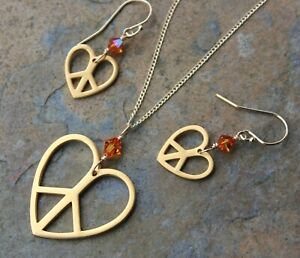 Gold Peace Heart Necklace + Earring Set w/ Astral Pink or Birthstone Crystals