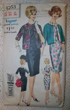 VOGUE Vintage 60s Special Design Pattern 4253 Wiggle Dress Jacket Size 14 Cut