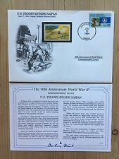 Danbury Mint Guerra Mundial 2 Segunda Guerra Mundial US USA 1994 FDC Uganda sello tropas invadir Saipan