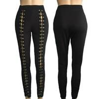 Women High Waist Hollow Out Lace up Leggings Long Pants Skinny Trousers Clubwear