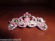 PINK CROWN~ SHINY AUSTRIAN CRYSTAL BLACK TONE BARRETTE~FOR ANY OCCASION