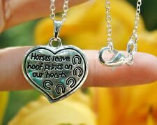 .925 Sterling Silver NECKLACE Horses Leave Hoof Prints Hearts Memorial Gift Love