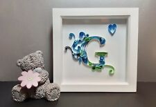 Quilled Letter in Deep frame, Birthday gift, Christening gift, Home decor