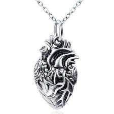Anatomical Human Heart Charm Necklace - 925 Sterling Silver - Gift