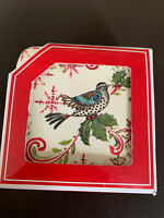 Coldwater Creek Holiday Collection HOLLY BIRD COASTERS Set of 4 Christmas NIB