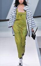 $1400 3.1 Phillip Lim Green Watercolor Nubuck Leather Romper Overalls XS Pants