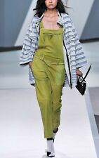 $1400 3.1 Phillip Lim Green Watercolor Nubuck Leather Romper Overalls XS Pants