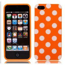 iPhone SE iPhone 5 5S Case Cover- Polka Dot - White on Orange