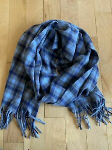 New Begg & Co. for J Crew Wool Scarf Blue Plaid $148