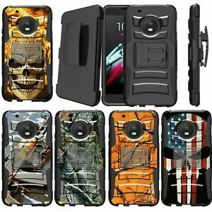 MINITURTLE Rugged Dual Shock Case Holster Stand for Moto G5 Plus / moto X 2017