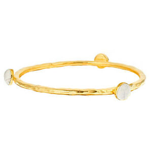 US Handmade 24k Gold Plated White Howlite Stackable Bangle Bracelet NEW with TAG