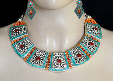 Asian Jewelry Sterling Silver Necklace set Turquoise Coral Tribal Earring Set1