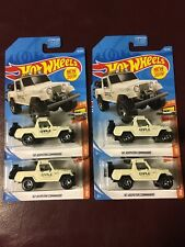 LOT OF 4 NEW 2019 HOT WHEELS WHITE 1967 67 JEEPSTER COMMANDO  HTF SET #84 JEEP