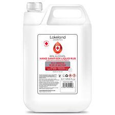 80% Alcohol Hand Sanitiser Liquid Rub 5L Litre Kills 99% Bacteria Germs Sanitize