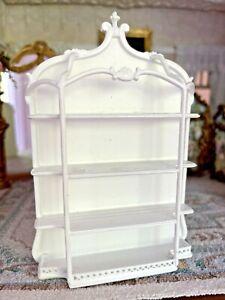Vintage Artisan Miniature Dollhouse Bespaq Wood White Wall Shelf Curio Pretty