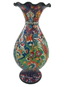 """Turkish Handmade Ceramic Floral Colorful Vase with Special Box Hand Painted 12"""""""