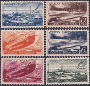 Spain Civic War 1938 Submarine Post Complete Set Gummed Reproduction Stamp sv