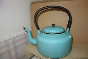 Vintage turquoise enamel kettle