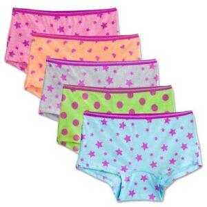 Fruit Of The Loom Signature Ultra Soft Girls 5Pk Boyshorts Panties Size 14 Nwt