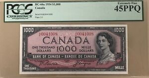 1954 Bank of Canada $1000 Banknote PCGS Extremely Fine 45 - Cat#BC-44a - Sale