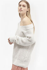 French Connection Waffle Off Shoulder Knit Bardot Jumper L BNWT RRP £68.95 White