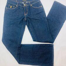 Rocawear Womens Jeans 7 Blue Slim Boot Stretch Dark Wash Embroidered EUC