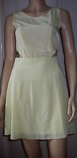 MISSGUIDED Lemon Cut Out Sides Sleeveless Lined Summer Dress Size 8 BNWT
