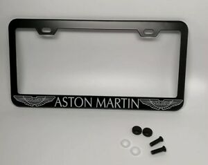 "Black ""ASTON MARTIN"" License Plate Frame, Custom Made of Powder Coated Metal"