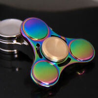 Colorful Metal Triangle Spinner Hand Fidget EDC Toy Finger Tip Gyro Bearing Spin