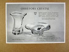 1955 Orrefors Crystal Nils Landberg designed Vase & Bowl vintage print Ad