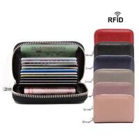 Women Leather Zip Around Coin Wallet Credit Card Holder Cases RFID Blocking CG