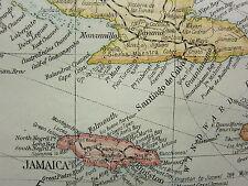 1919 LARGE MAP ~ WEST INDIES CUBA JAMAICA PORTO RICO TRINIDAD BAHAMA