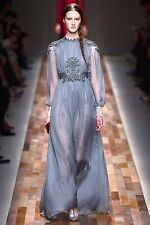 Valentino Aw 13 piste longue gris soie brodée dentelle robe robe BNWT 10 IT 42