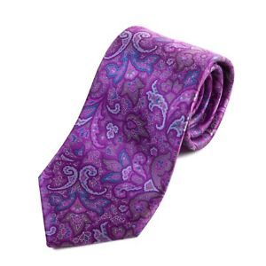 Brioni Purple Paisley Print Silk Tie 16809